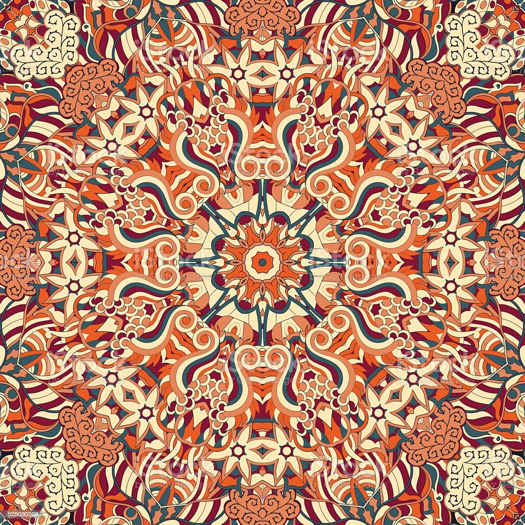 Tracery seamless ornament. Ethnic binary mehndi doodle texture design. Vector. vector art illustration