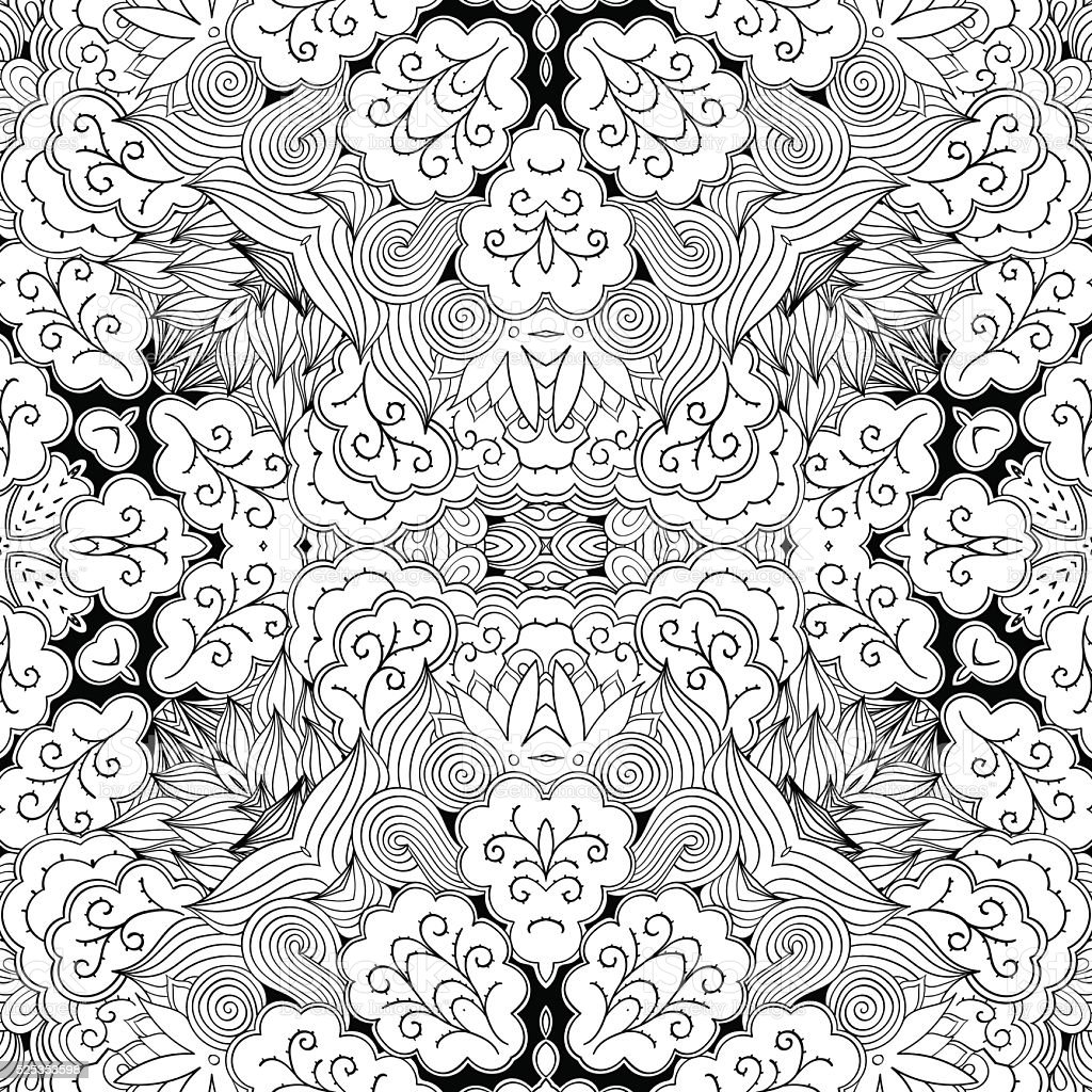Tracery seamless ornament. Ethnic mehndi curved doodle design. Vector. vector art illustration