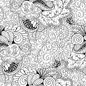 Tracery seamless pattern. Ethnic binary mehndi doodle texture design. Vector.