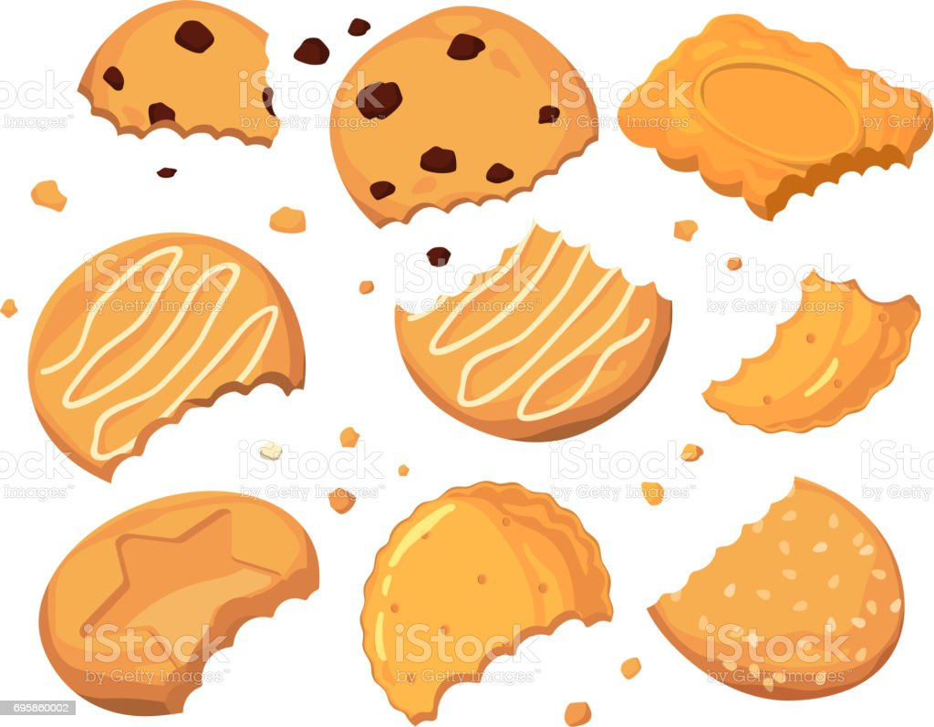 Traces from stings on the cookies and different small crumbs. Cartoon vector illustration set vector art illustration
