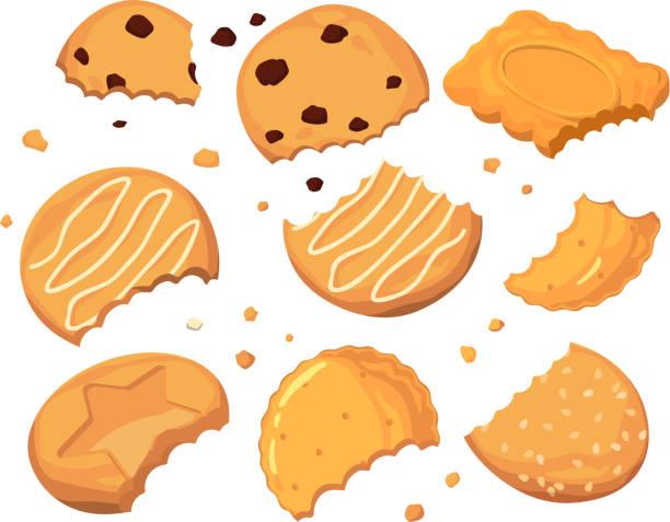 illustrazioni stock, clip art, cartoni animati e icone di tendenza di tracce di punture sui biscotti e diverse piccole briciole. set di illustrazioni vettoriali dei cartoni animati - briciola