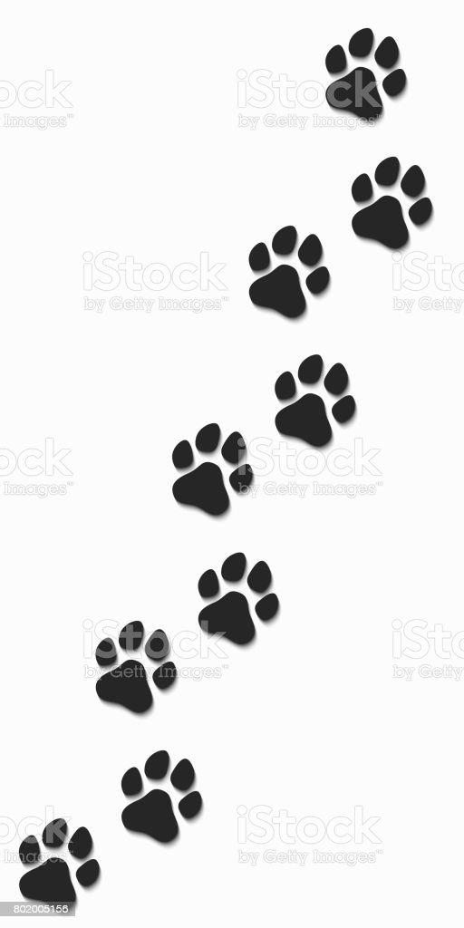 Ilustración De Huellas De Un Perro En Color Negro Sobre Un Fondo