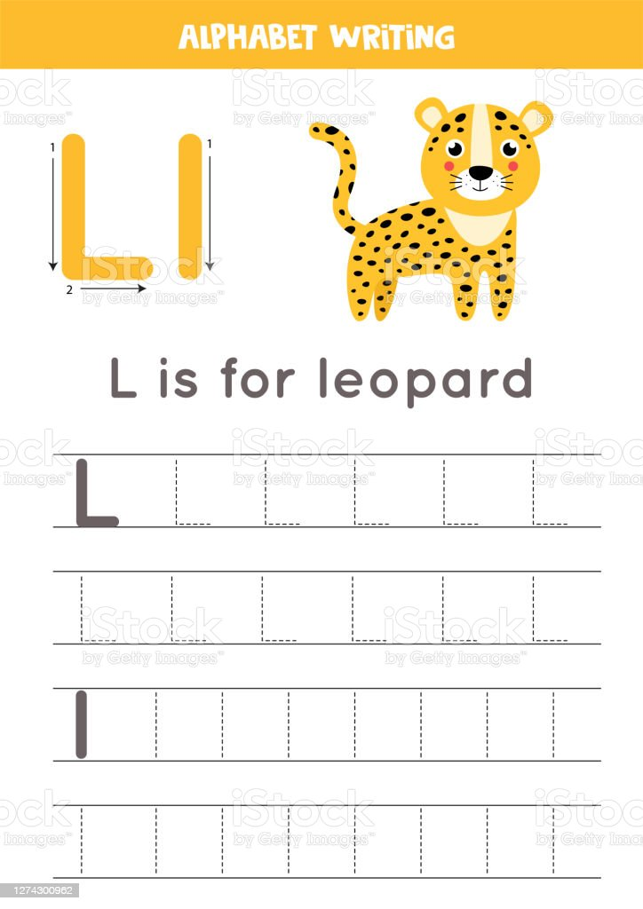 Tracing Alphabet Letter L With Cute Cartoon Leopard Stock Illustration -  Download Image Now - IStock