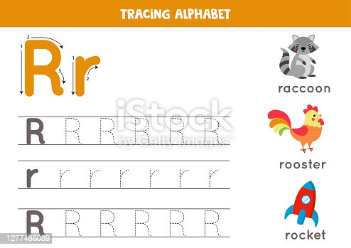 Tracing alphabet letter R with cute cartoon pictures.