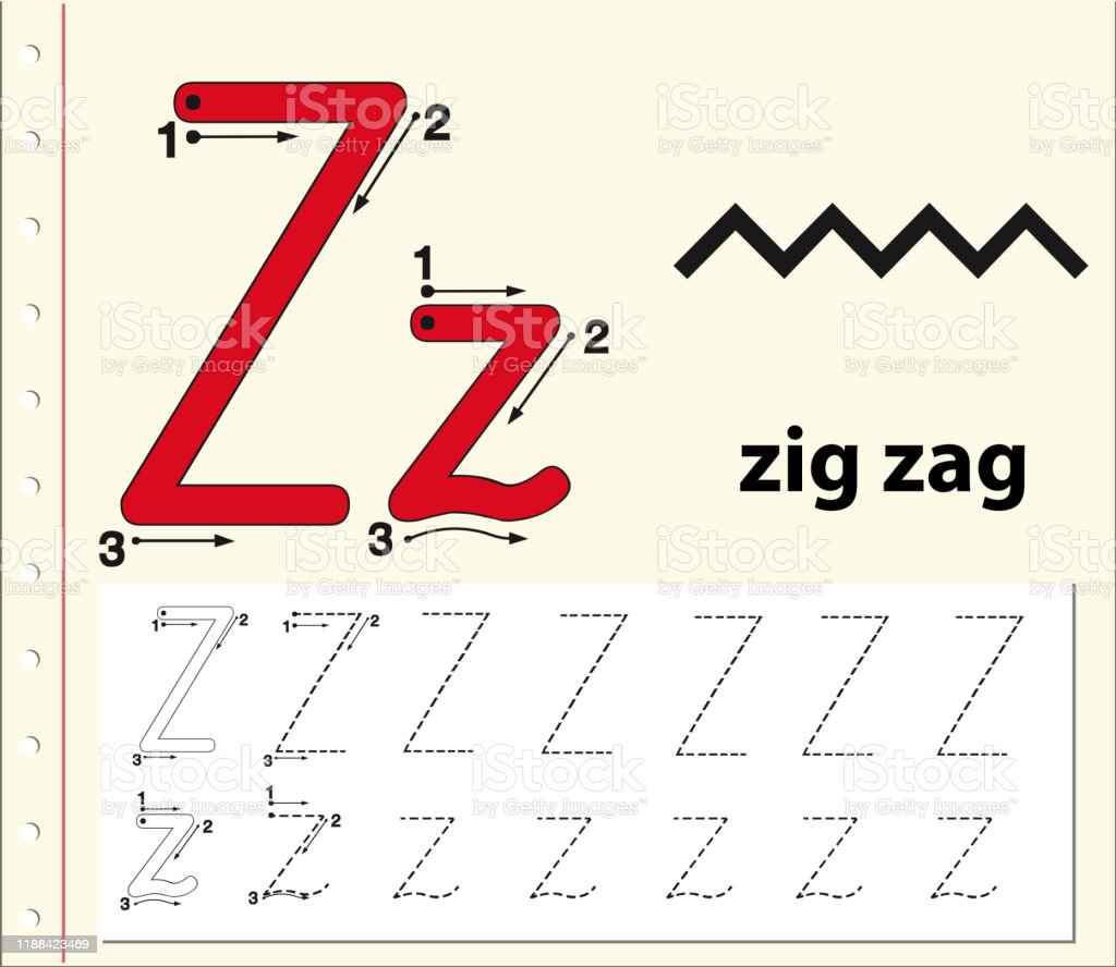 Tracing Alphabet Template For Letter Z Stock Illustration