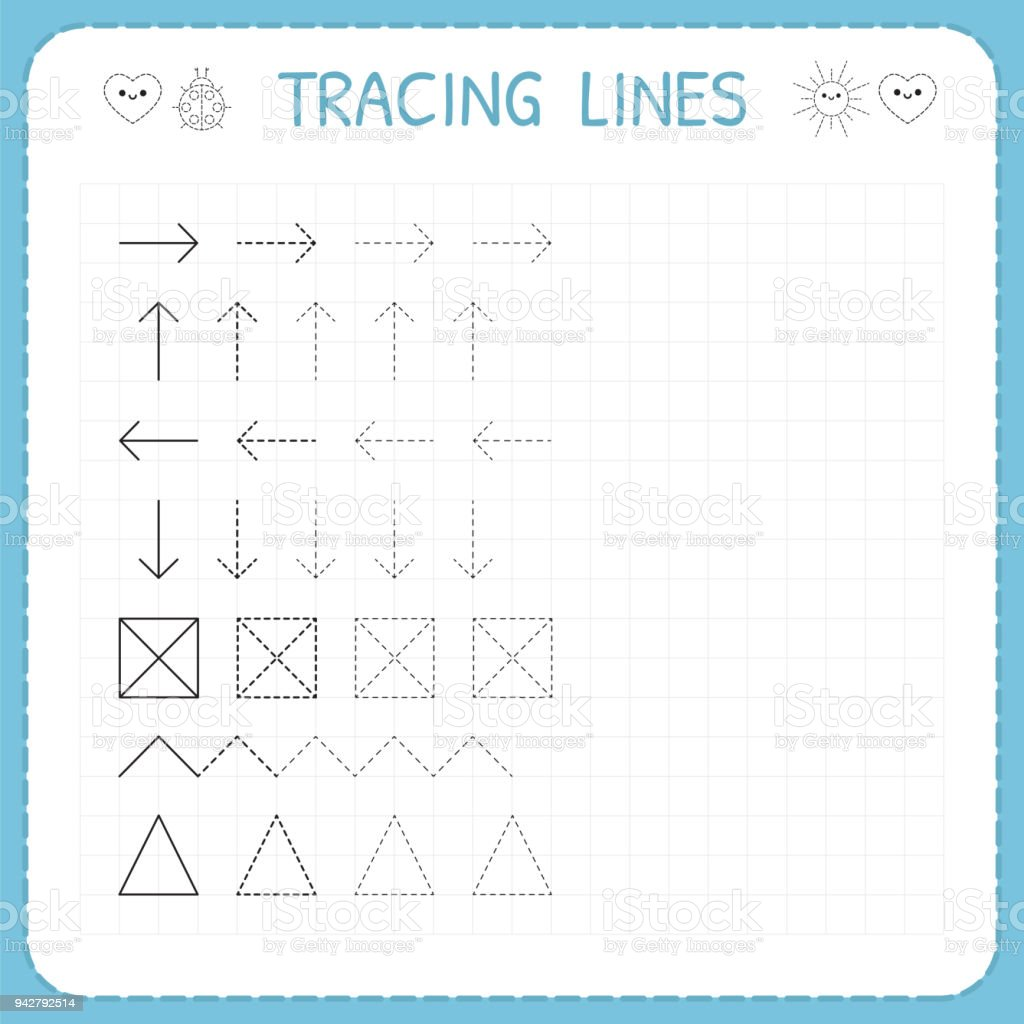 Tracing Lines Working Pages For Children Preschool Or Kindergarten