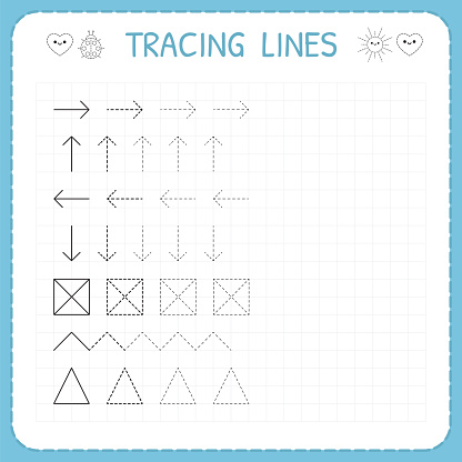 tracing lines working pages for children preschool or. Black Bedroom Furniture Sets. Home Design Ideas