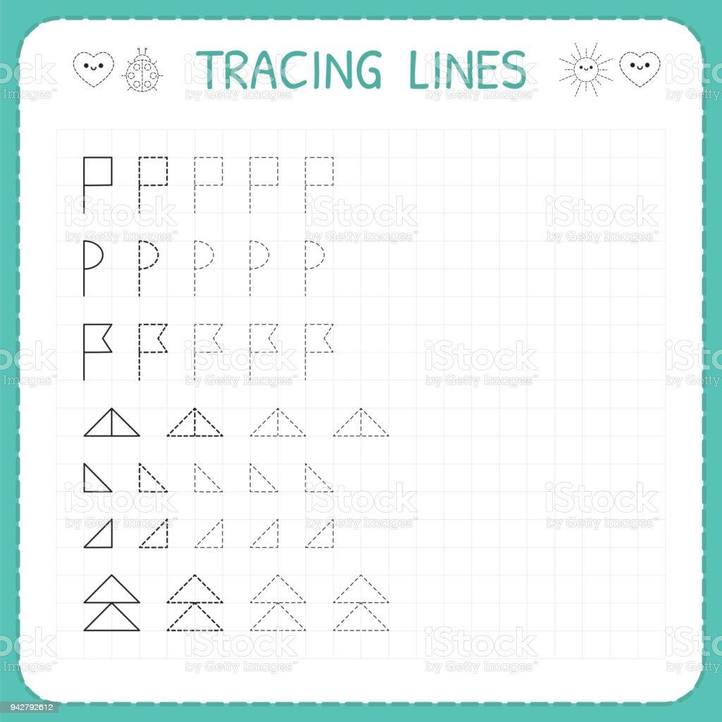 Ablaufverfolgung Linien Arbeitsblatt Für Kinder Zeichnen Sie Das ...