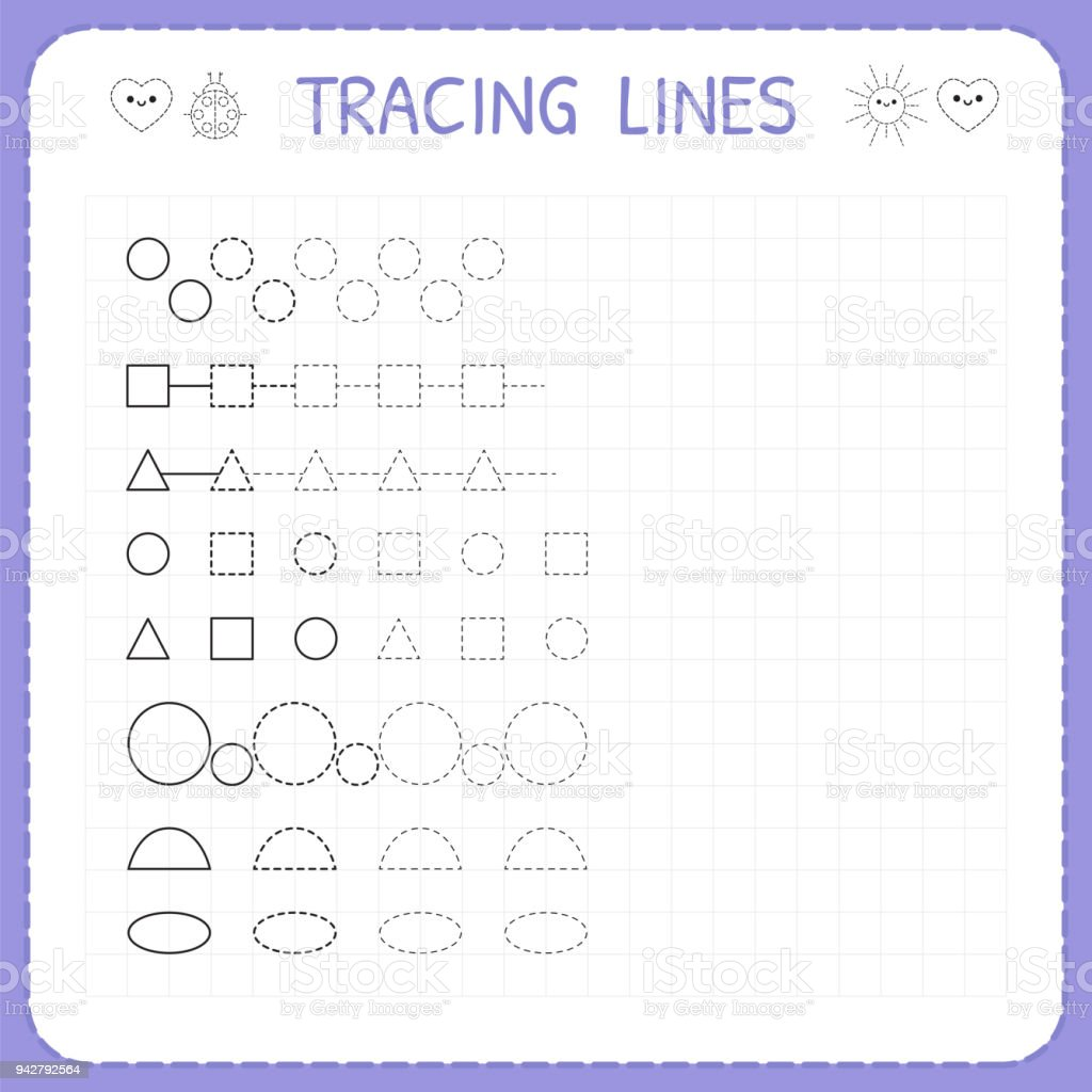 tracing lines worksheet for kids working pages for children trace the pattern basic writing. Black Bedroom Furniture Sets. Home Design Ideas