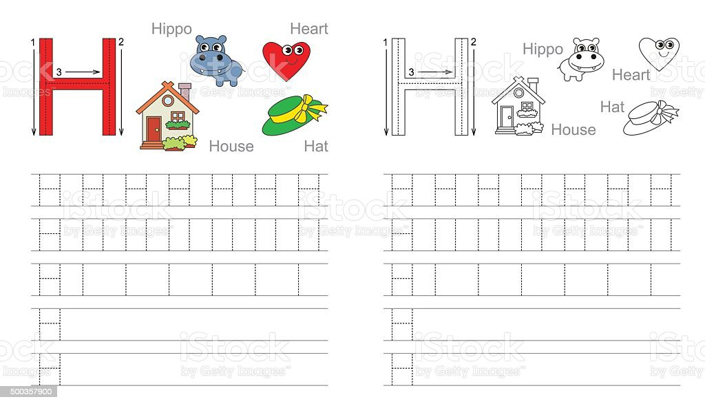 Tracing Worksheet For Letter H stock vector art 500357900 | iStock