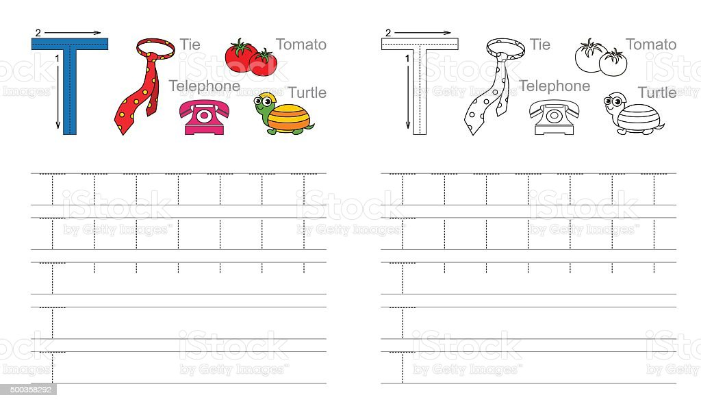 Tracing Worksheet For Letter T stock vector art 500358292 | iStock