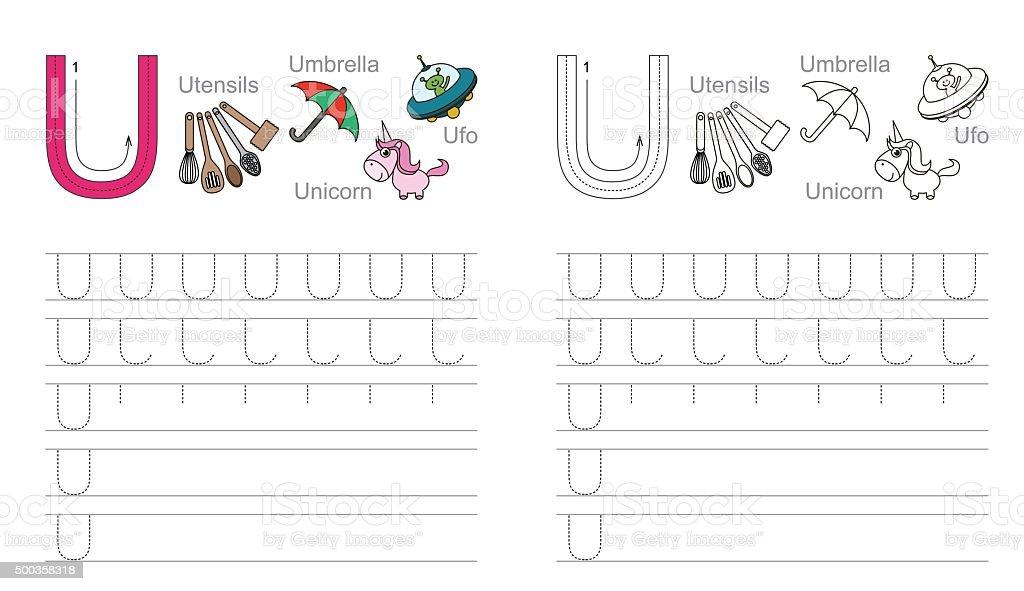 ilustraci n de trazado hoja de trabajo para la letra u y m s banco de im genes de 2015 500358318. Black Bedroom Furniture Sets. Home Design Ideas