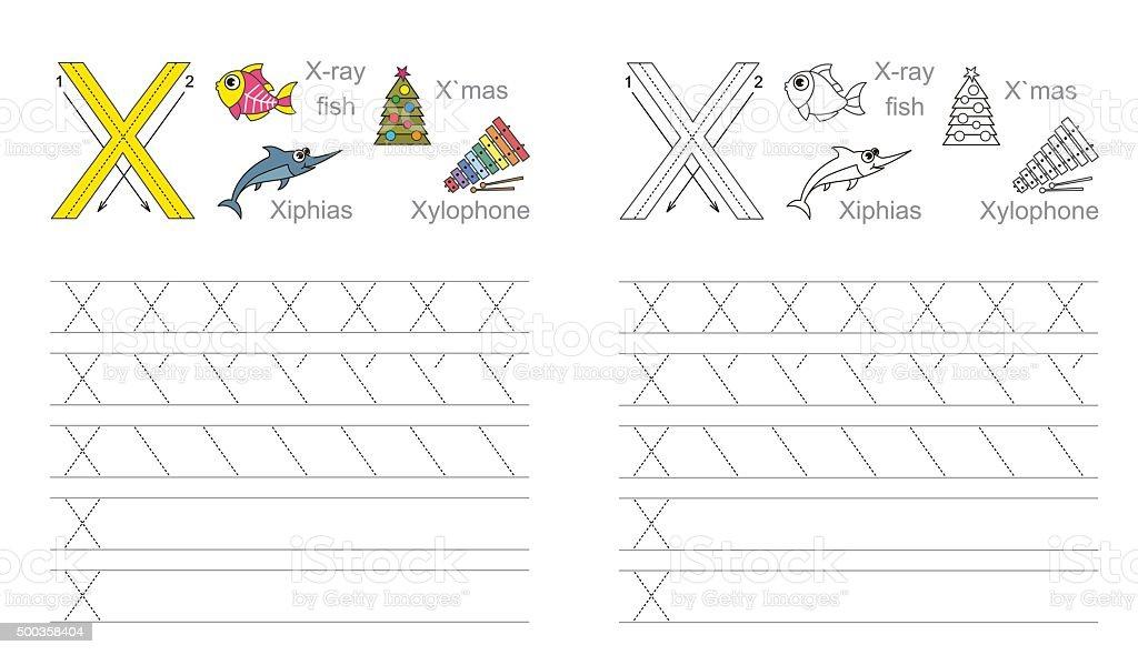 Durchpausen Arbeitsblatt Für Buchstabe X Stock Vektor Art und mehr ...