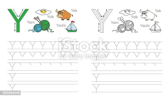 Tracing Worksheet For Letter Y Stock Vector Art & More Images of ...