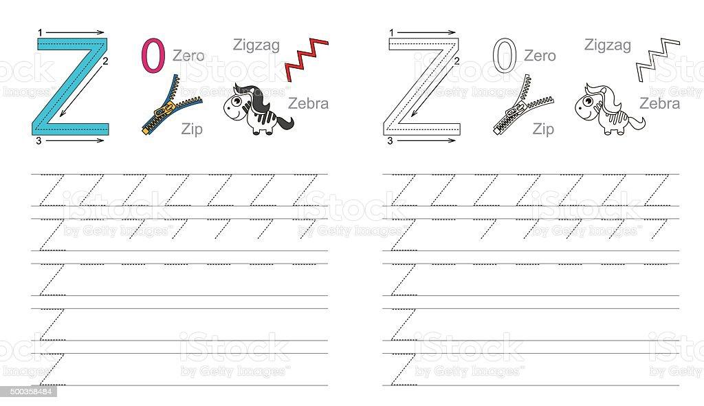 Durchpausen Arbeitsblatt Für Buchstabe Z Stock Vektor Art und mehr ...