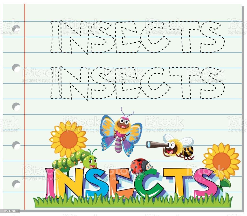 Arbeitsblatt Für Wort Insekten Aufspüren Stock Vektor Art und mehr ...