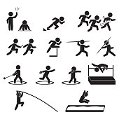 Track and field athletics icon set, Vector.