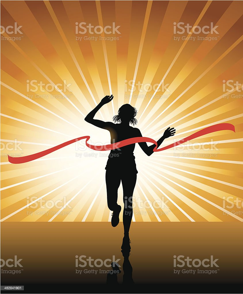 Track and Field - Female Finish Line Background vector art illustration