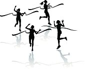 "Graphic silhouette background illustration of girls track, racing to the finish line. Scale to any size. Color changes a snap. Check out my ""Fitness, Exercise & Running"" light box for more."