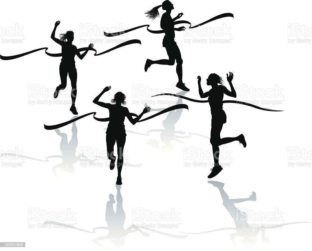 Track and Field - Female Finish Line vector art illustration