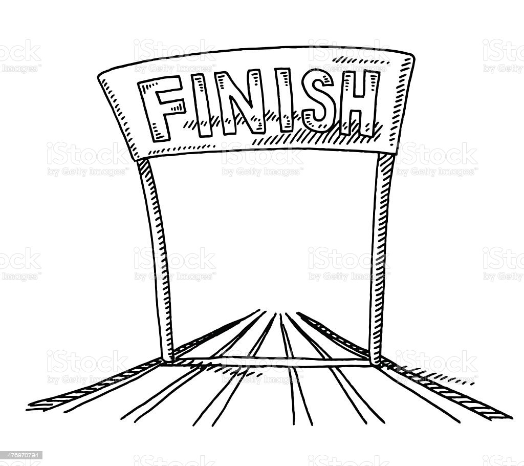 Track And Field Finish Line Drawing vector art illustration