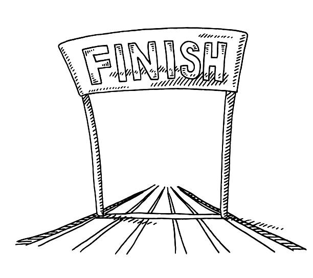 track and field finish line drawing - finish line stock illustrations, clip art, cartoons, & icons