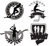 """Graphic silhouette icon illustrations of girls track. Sprint, Hurdle, Cross Country, Finish Line. Scale to any size. Color changes a snap. Mix and Match parts. Check out my """"Fitness, Exercise & Running"""" light box for more."""