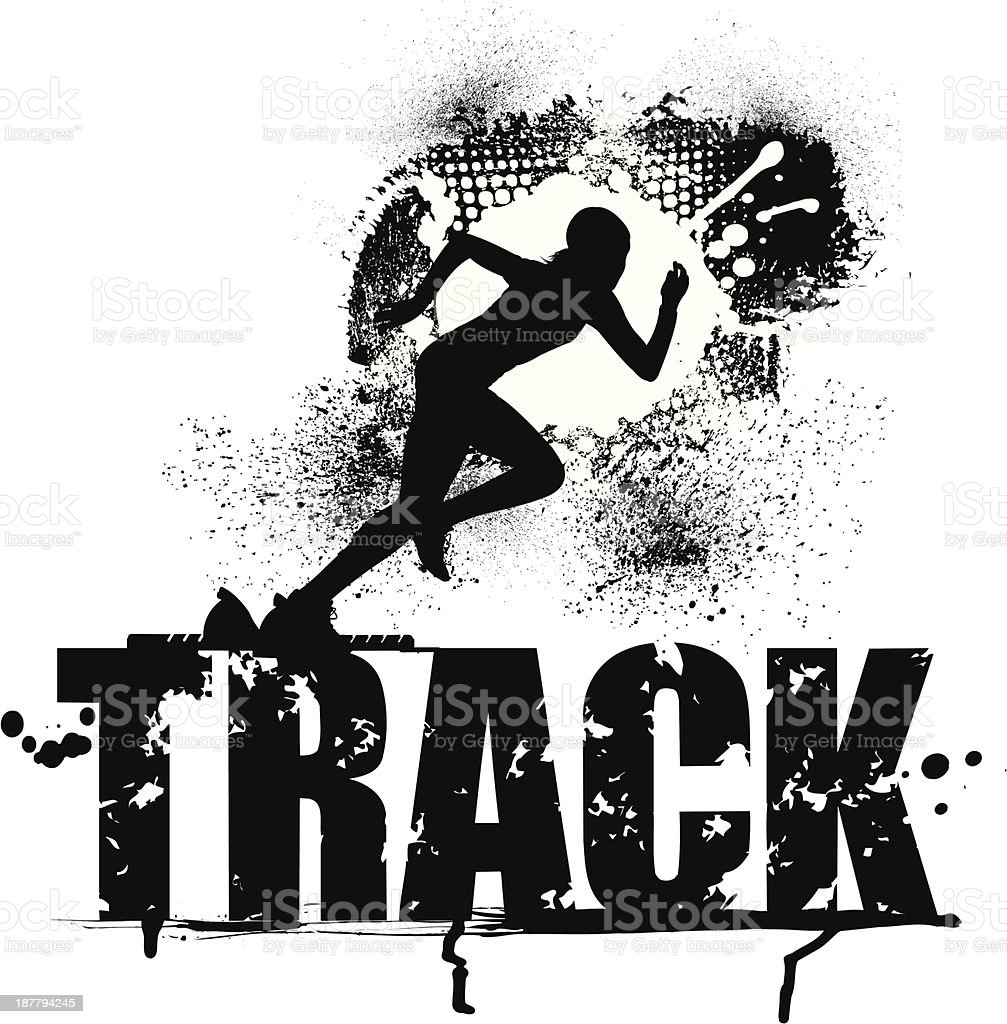 Track and Field Grunge Graphic - Female Sprinter royalty-free stock vector art