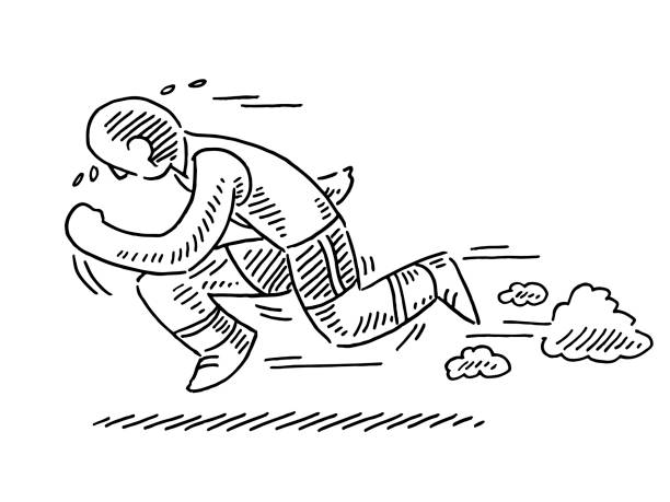 Track And Field Human Figure Runner Drawing Hand-drawn vector drawing of a Track And Field Human Figure Runner. Black-and-White sketch on a transparent background (.eps-file). Included files are EPS (v10) and Hi-Res JPG. running stock illustrations