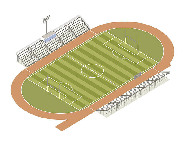 Track and field isometric illustration vector art illustration