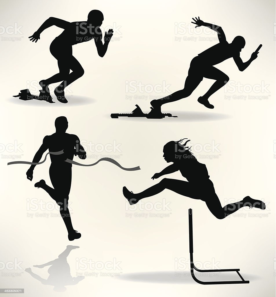 Track and Field Runners, Sprinter vector art illustration