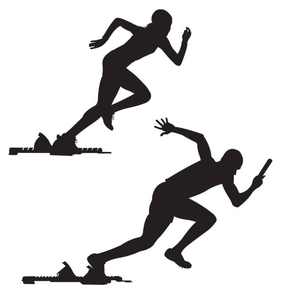 illustrations, cliparts, dessins animés et icônes de athlétisme sport, sprinters - starting block