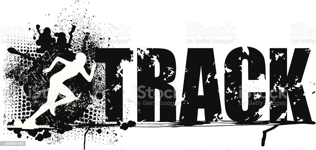 Track and Field Sprint Grunge Graphic - Girls vector art illustration