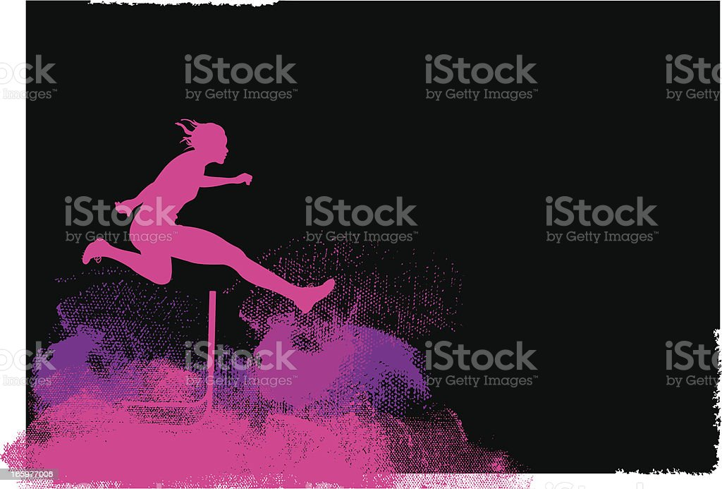 Track Event - Hurdler Background, Female vector art illustration