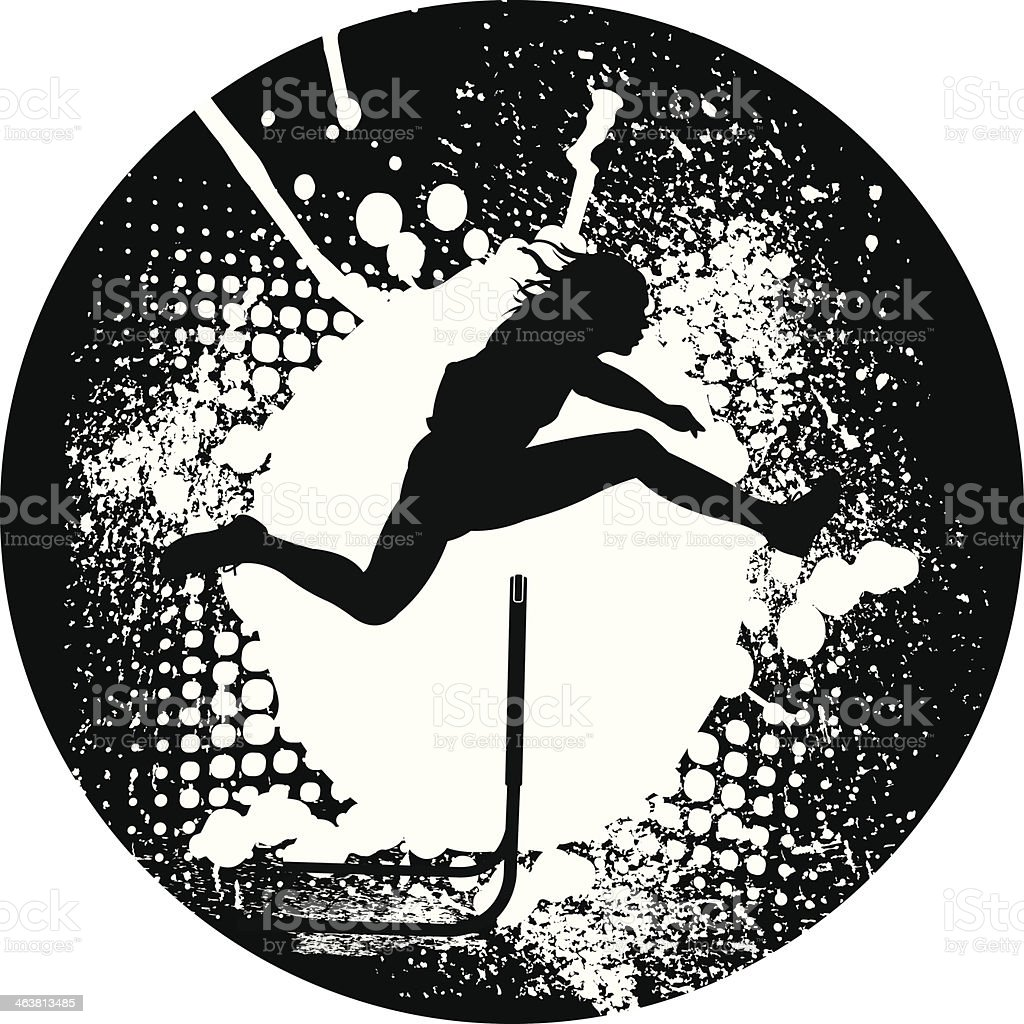 Track & Field Hurdler Grunge Graphic vector art illustration