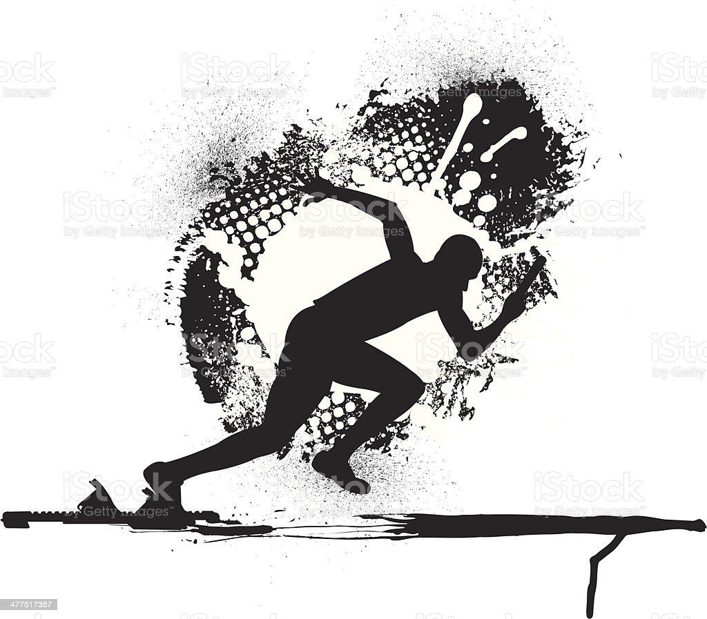 Track & Field Relay Race - Runner Grunge Graphic vector art illustration