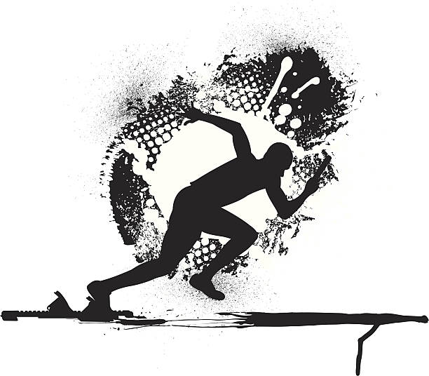 Track & Field Relay Race - Runner Grunge Graphic vector art illustration