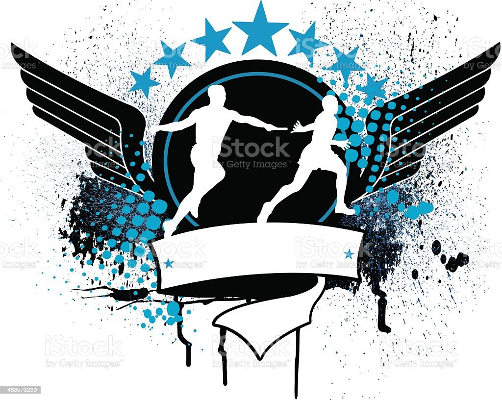 Track & Field Relay Race - Runners Graphic royalty-free stock vector art