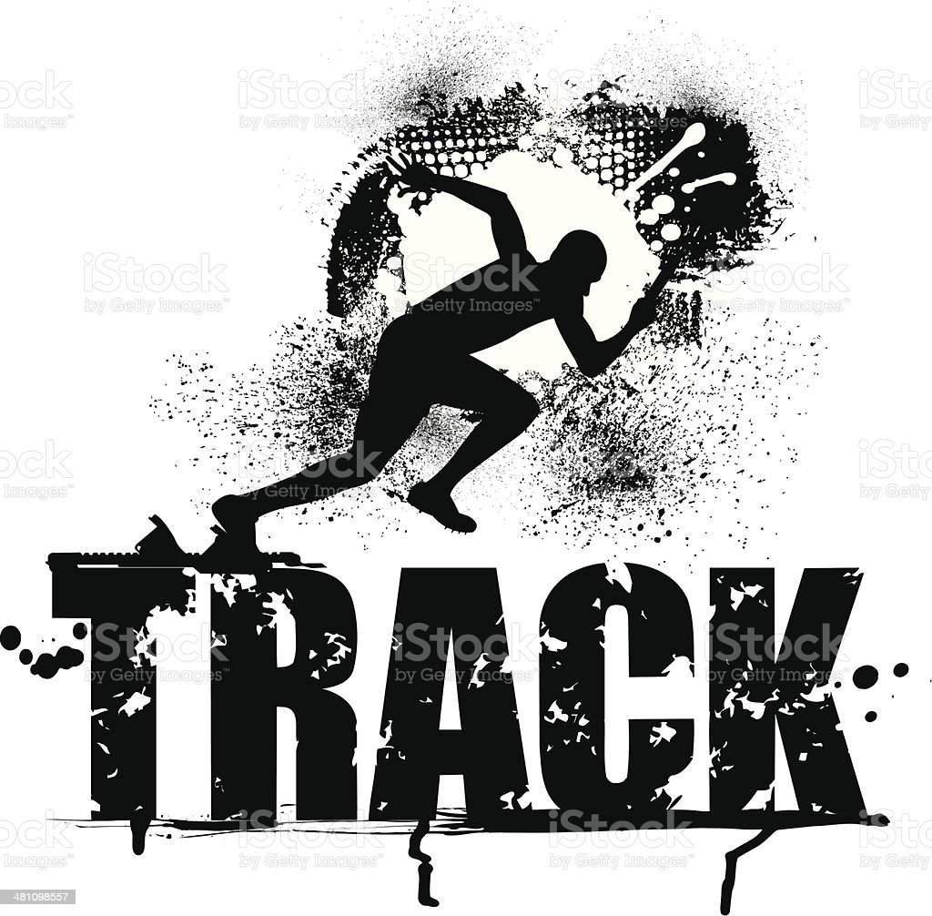 Track Grunge Graphic - Male Sprinter royalty-free track grunge graphic male sprinter stock vector art & more images of activity
