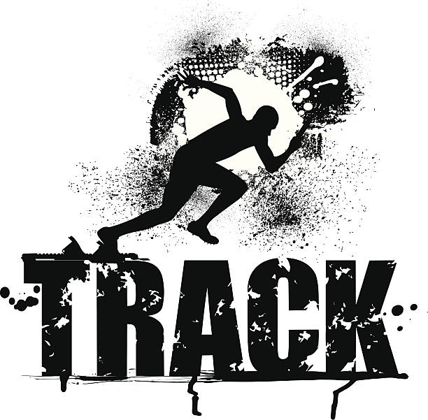 Track Grunge Graphic - Male Sprinter vector art illustration