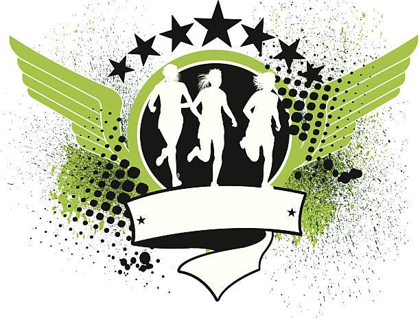 track oder cross-country läufer-mädchen im hintergrund - langstreckenlauf stock-grafiken, -clipart, -cartoons und -symbole