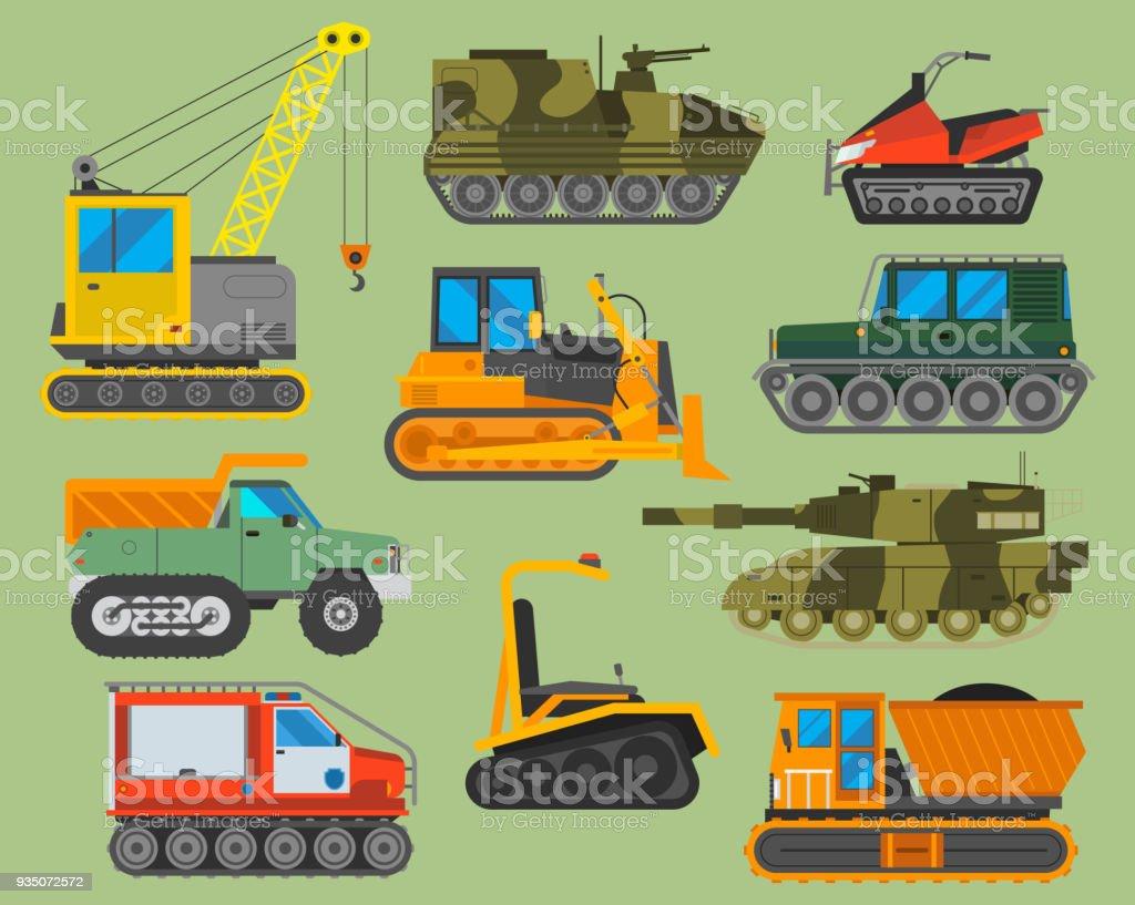 Tracked caterpillar excavator tractor vector illustration isolated on background. Construction industry machinery caterpillar equipment tractor. Bulldozer vehicle transportation caterpillar equipment vector art illustration