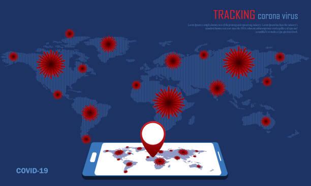 verfolgung des ausbruchs des coronavirus und des standorts der menschen - smartphone mit corona app stock-grafiken, -clipart, -cartoons und -symbole