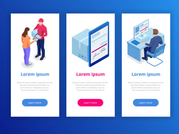 tracking delivery by parcel, delivery service concept. woman accepting a delivery of boxes from deliveryman. isometric vector illustration. - postal worker stock illustrations