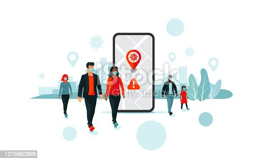 istock Tracking Location Smartphone App with People Wearing Face Mask 1215662869