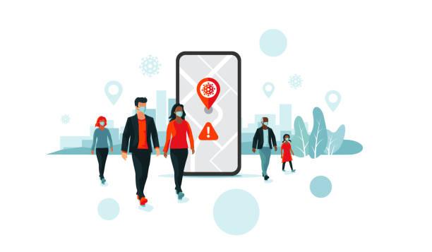 tracking location smartphone app mit menschen tragen gesichtsmaske - smartphone mit corona app stock-grafiken, -clipart, -cartoons und -symbole