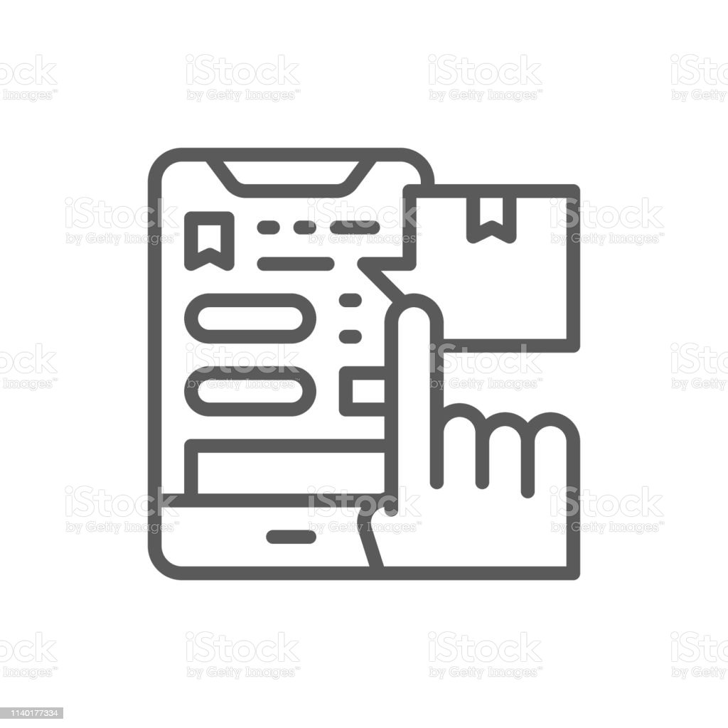 Vector tracking parcel in application, delivery app line icon. Symbol...
