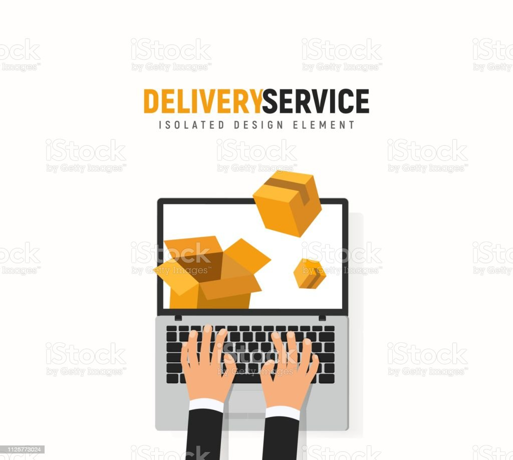Tracking parcel online service. Laptop, hands and boxes vector...
