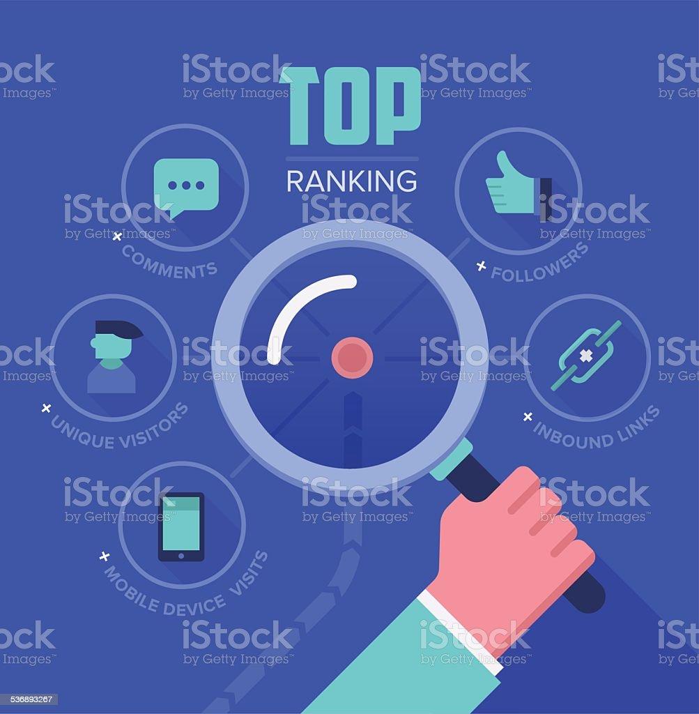 Tracking Website Ranking vector art illustration
