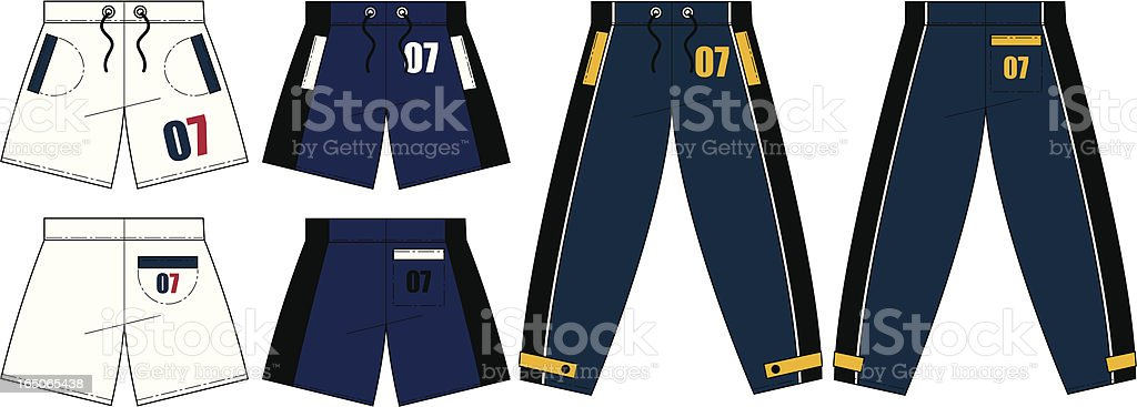 Tracksuit Bottoms & Shorts Front & Back (Vector) royalty-free stock vector art